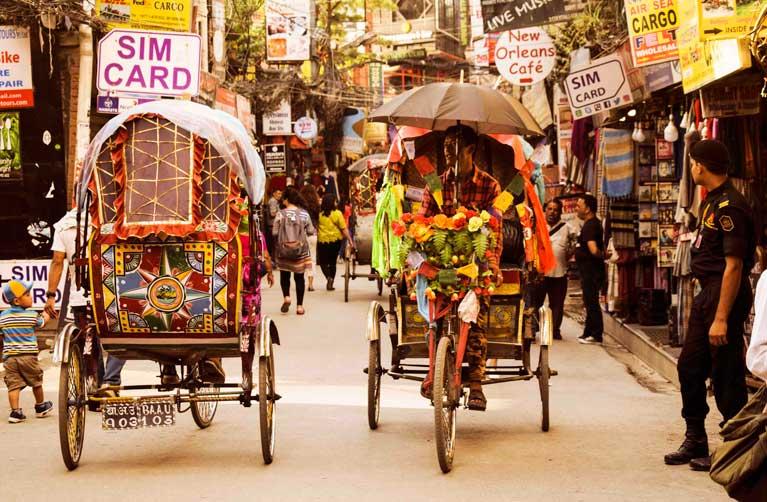 Rickshaws of Thamel Market Kathmandu nepal