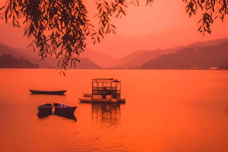 beautiful Sunset at Phewa lake Pokhara