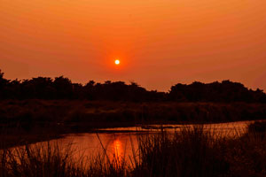 Rapti river sunset Chitwan National Park