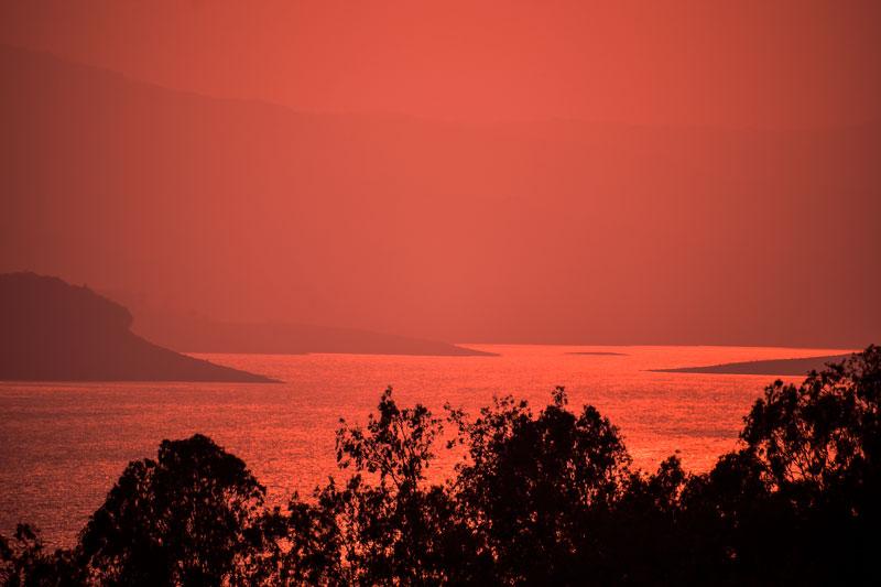 Sunset at Dandeli. viewed from the  Supa dam on kali river. Karnataka Travel ideas.