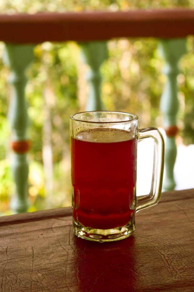 Kokum juice served at the Dandeli jungle camp.