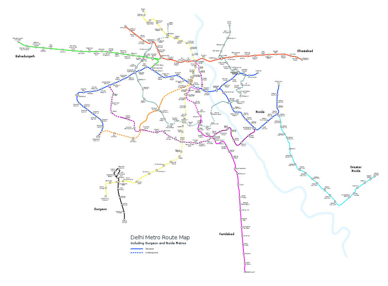 delhi metro Map with Color Codes