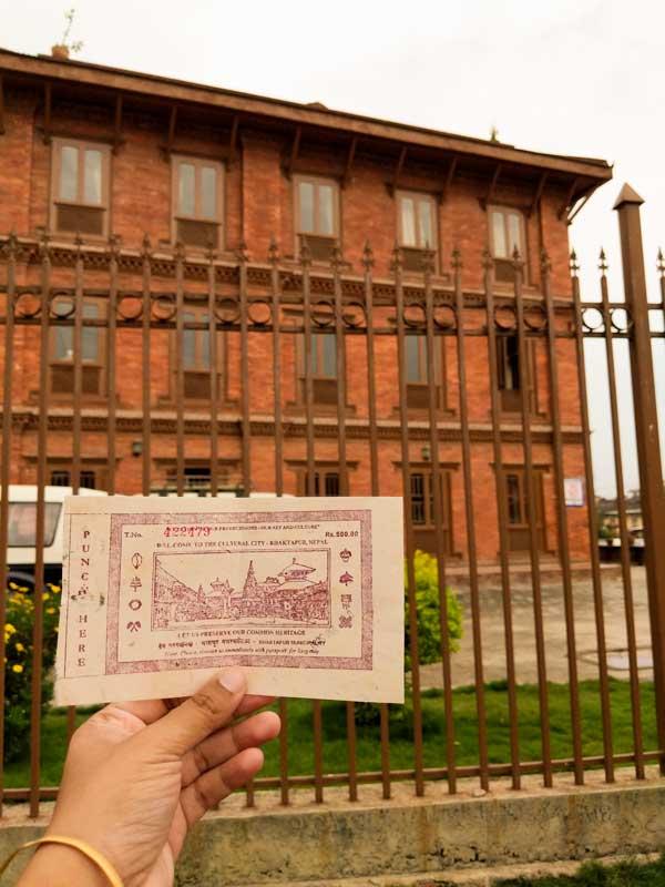 ticket price to enter Bhaktapur Durbar Square