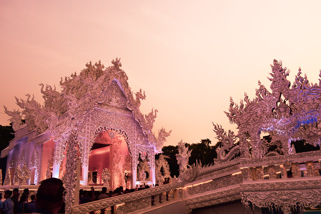 Thailand white temple decoration in Kolkata Durgapuja. Deshpriya Park Thailand Pandal