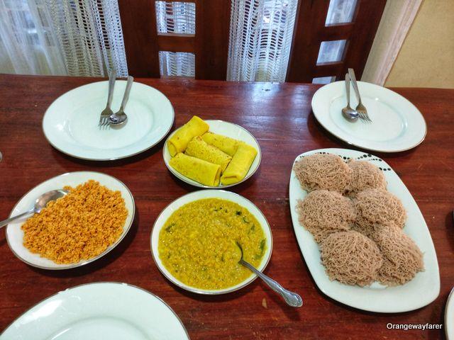 Traditional breakfast spread in Sri Lanka