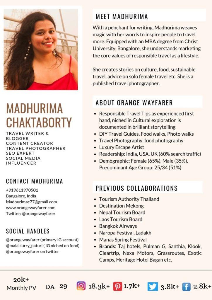 Madhurima Chakraborty Orange wayfarer Media Kit