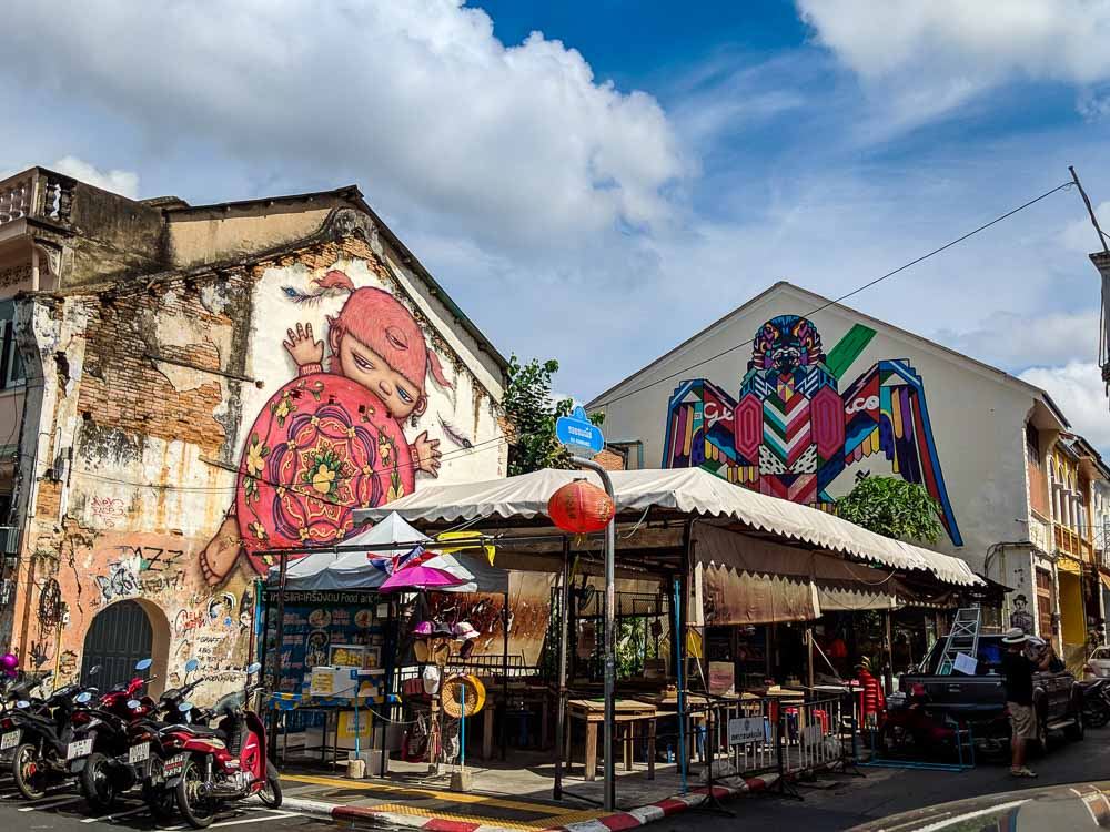 Best Street art by Alex Face in Old Phuket Town, Thailand. Baby Mardi painted by Alex.