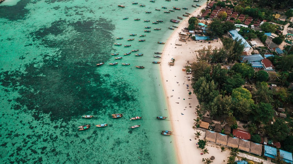Sunrise Beach from Koh Lipe: drone shot of the most beautiful beaches in Thailand