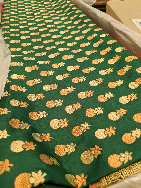 Quirky Benarasi with pineapple motifs from Vyasdev Tolaram Kolkataac