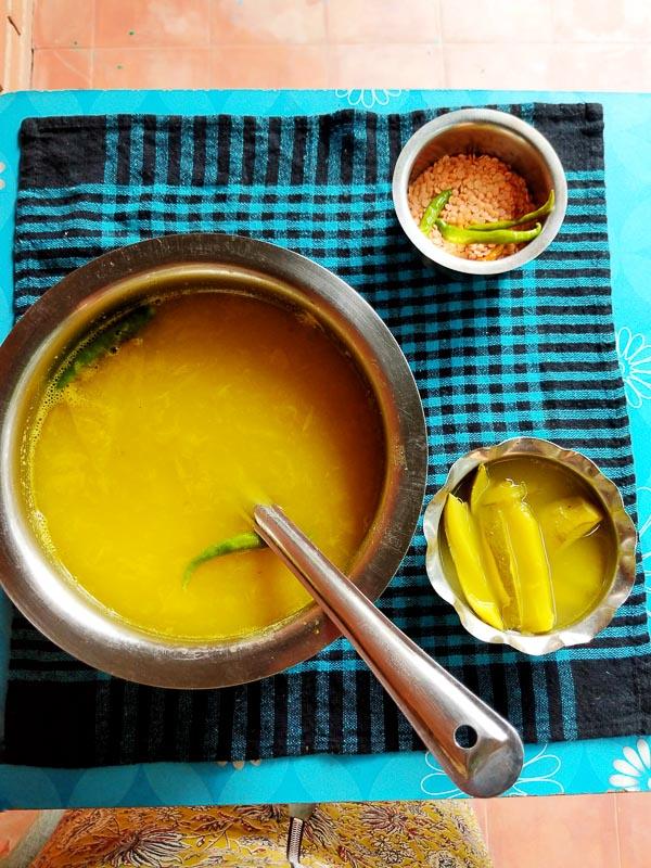 AMer tok dal recipe, masoor daal, green mango
