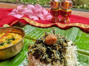 Bori diye lau shak bhapa cooked after the Bangal style