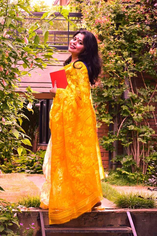 yellow dhakai saree and Photoshoot during golden hour