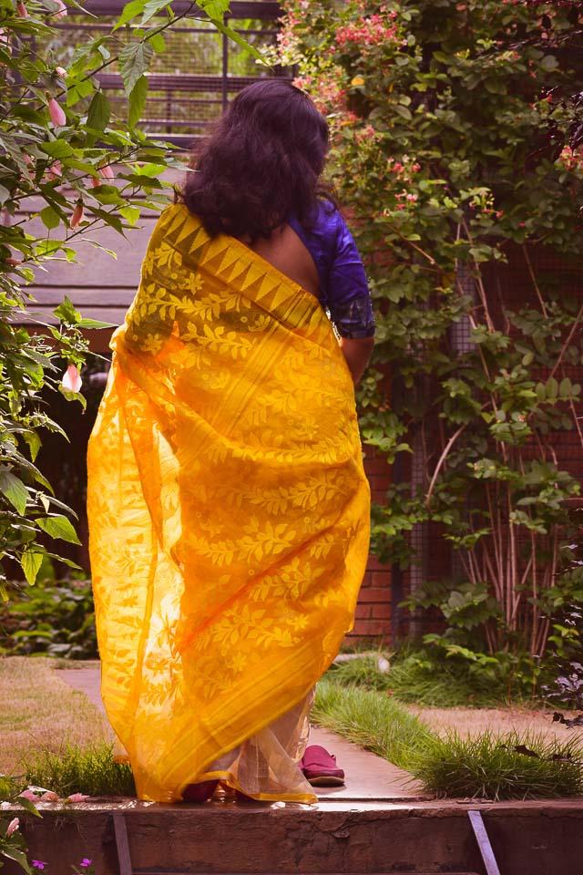Saree lookbook: yellow dhakai saree