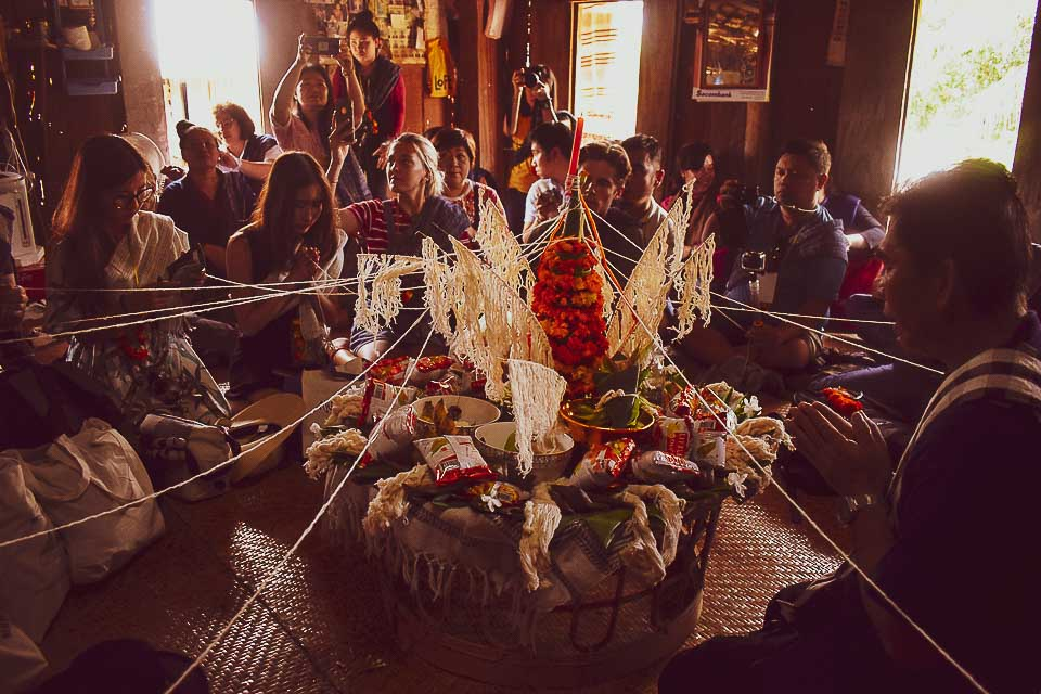 Baci ceremony at Ban Phanom, remote villages near luang Prabang for a day trip