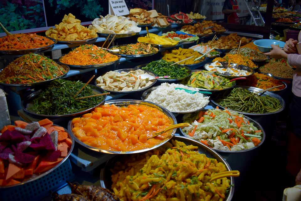 Night market at Luang Prabang and Local buffet of Laos traditional food