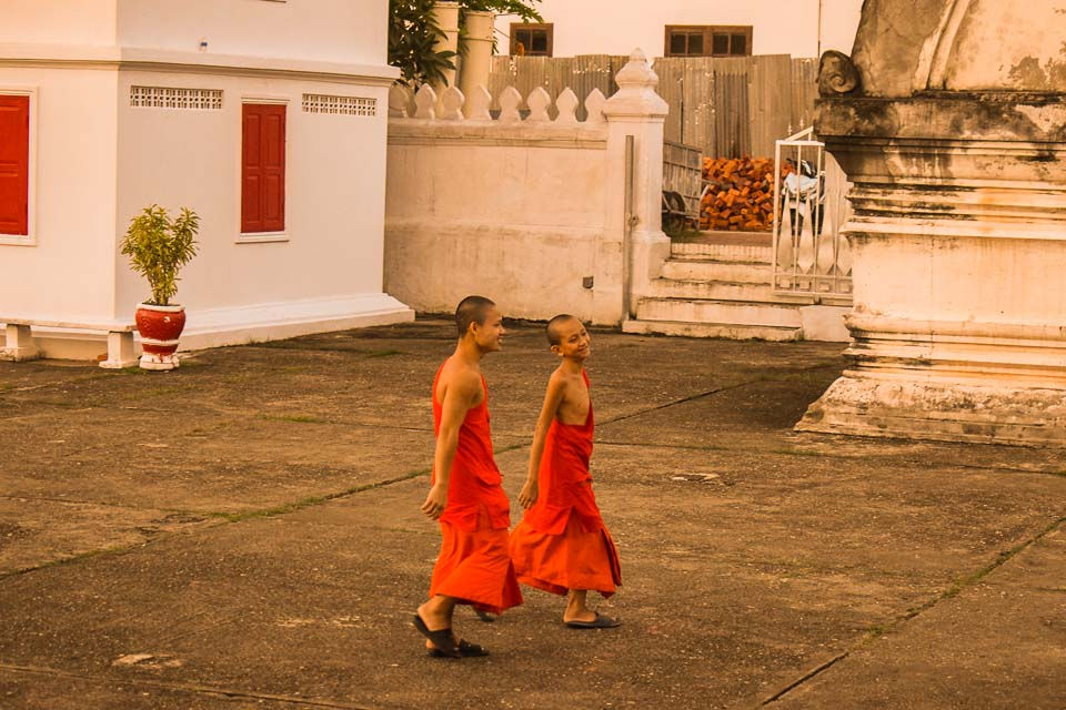 Young monks in orange robe at Luang Prabang laos