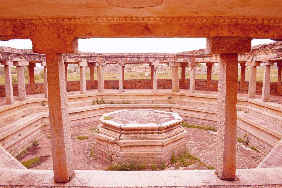 Ruins of queens bath in Hampi