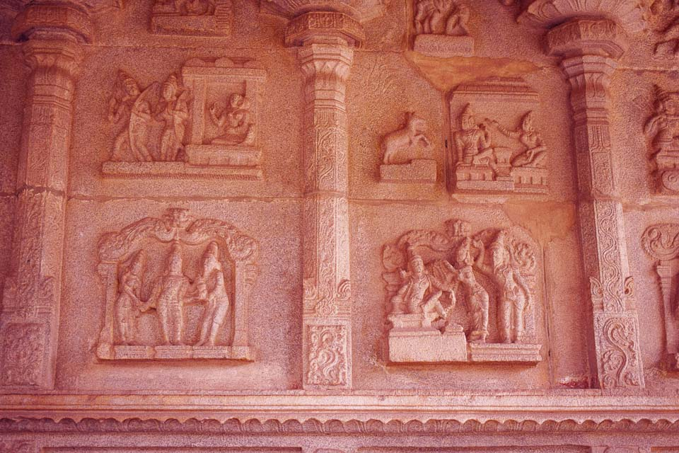 Wall panels in Hampi with epics written: Iconic monuments of India