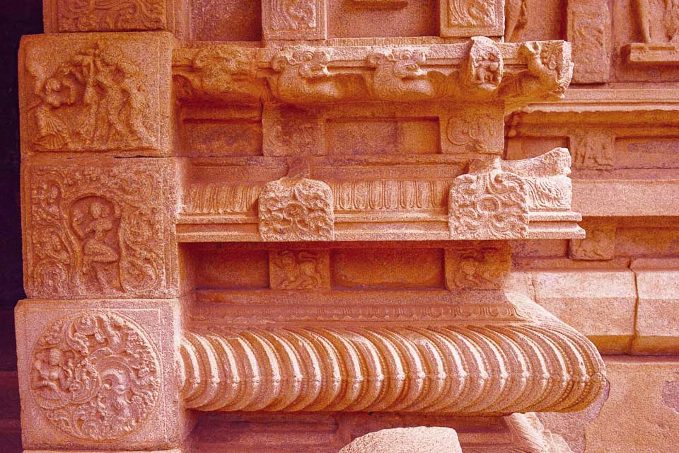 Wall panels in Hampi showing stories of Ramayana