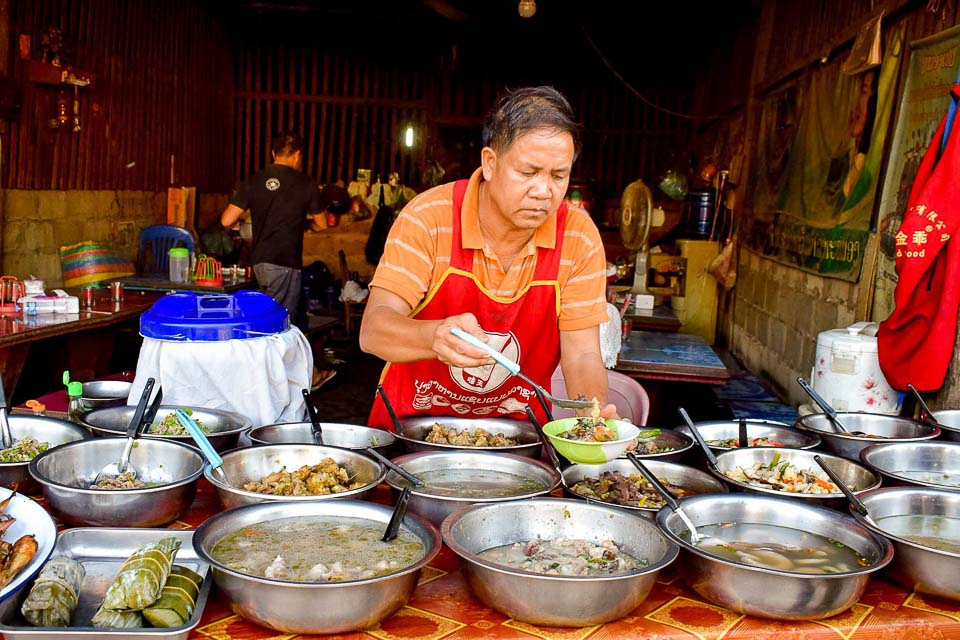 luang prabang night market: foodwalk in Luang Prabang, laos