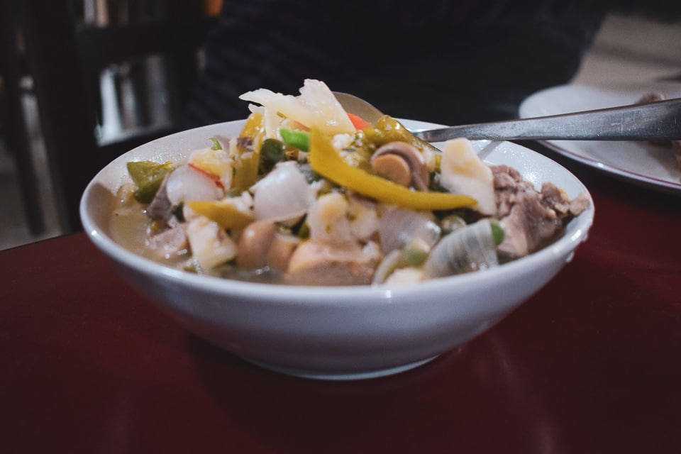 Button mushroom and chicken cooked in yak butter: Served at Dirang