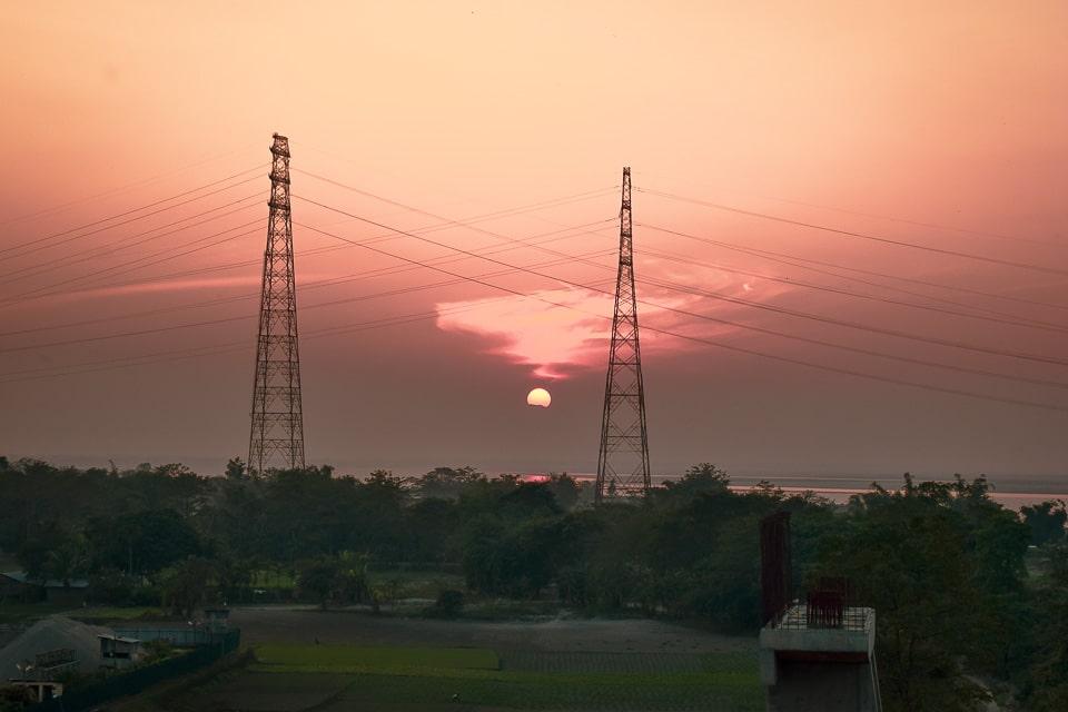 Sunset over Bramhaputra river