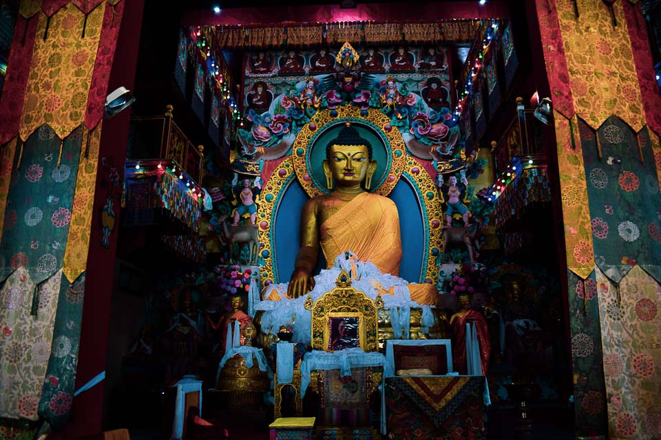 Buddha statue as seen at tawang Monastery: the largest buddha statue of India