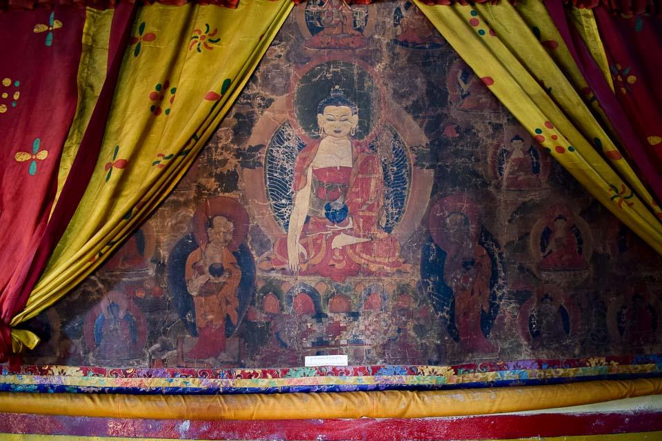 handpainted murals at the tawang monastery: old Tibetan Buddhism