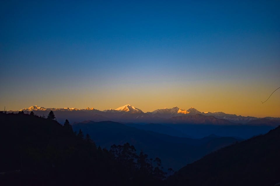 Sunset as seen from Bomdila: the Gorichen peak at a distance