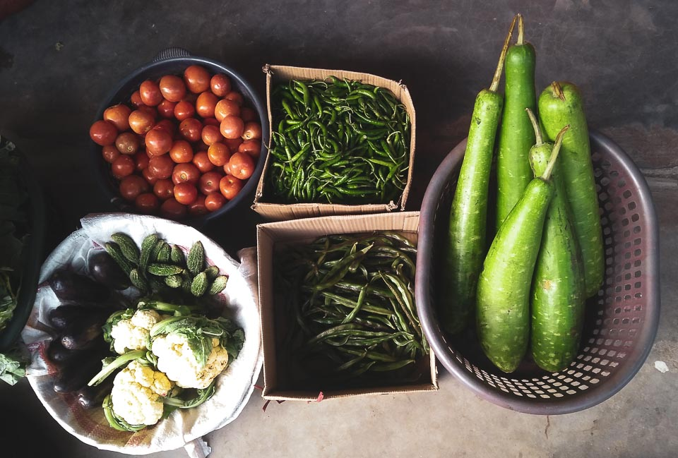 Local fruits and vegetables from the kitchen garden in Dirang!