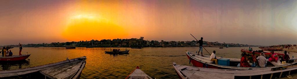 Sunset at the ghats of Varanasi