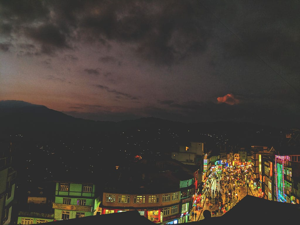 Sunset view of Gangtok Mall road